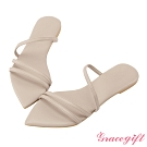 Grace gift X Tammy-聯名一字細帶尖頭涼拖鞋 米白