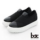【bac】加州陽光 - 厚底台大交叉彈性織帶運動風休閒鞋-黑