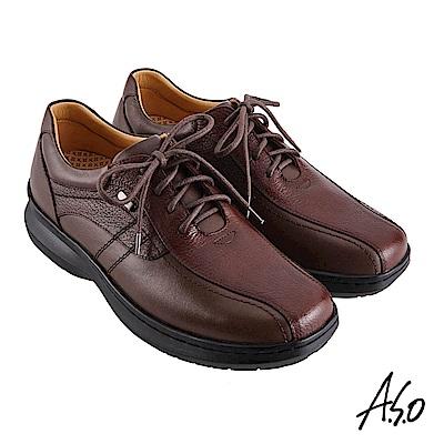 A.S.O機能休閒 超能耐II代異材搭配綁帶商務休閒鞋-咖啡