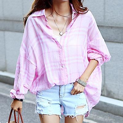 正韓 寬鬆甜美色系格紋長袖襯衫 (共二色)-N.C21