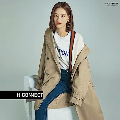 H:CONNECT 韓國品牌 女裝-微彈水洗刷色牛仔褲-深藍