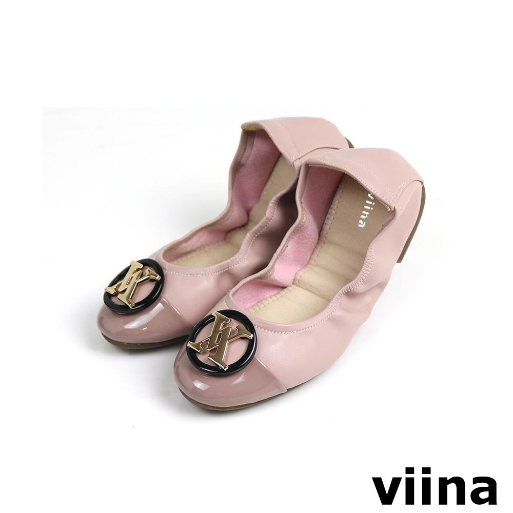 viina 拼接黑圓框金LOGO摺疊鞋 - 藕粉