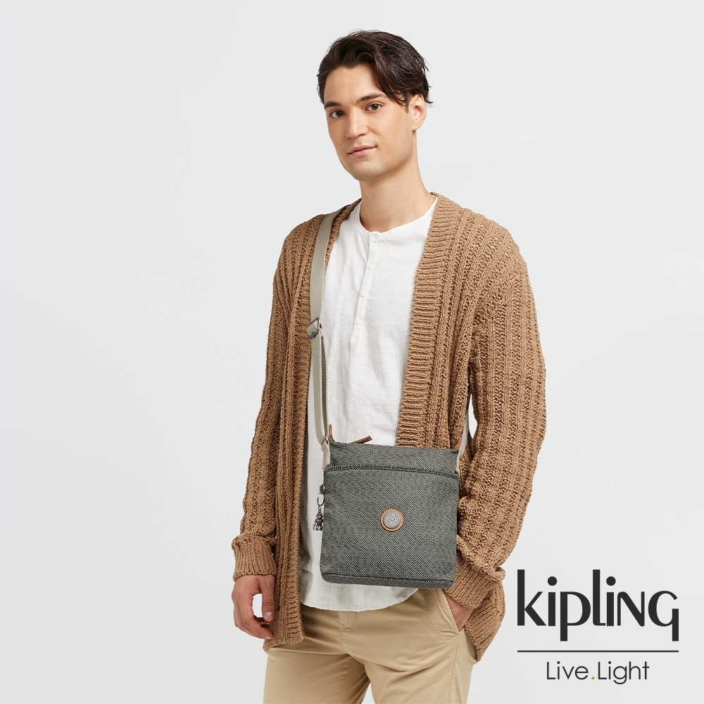 Kipling 編織松柏綠簡約斜背方包-KALAO