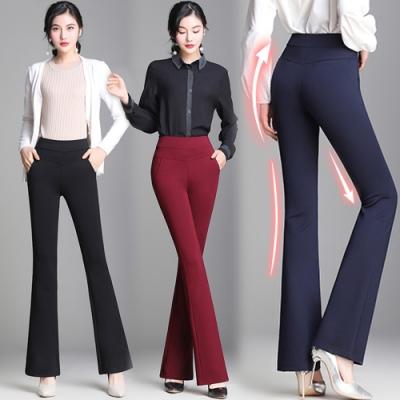初色  高腰顯瘦微喇叭褲-共3色-(M-2XL可選)