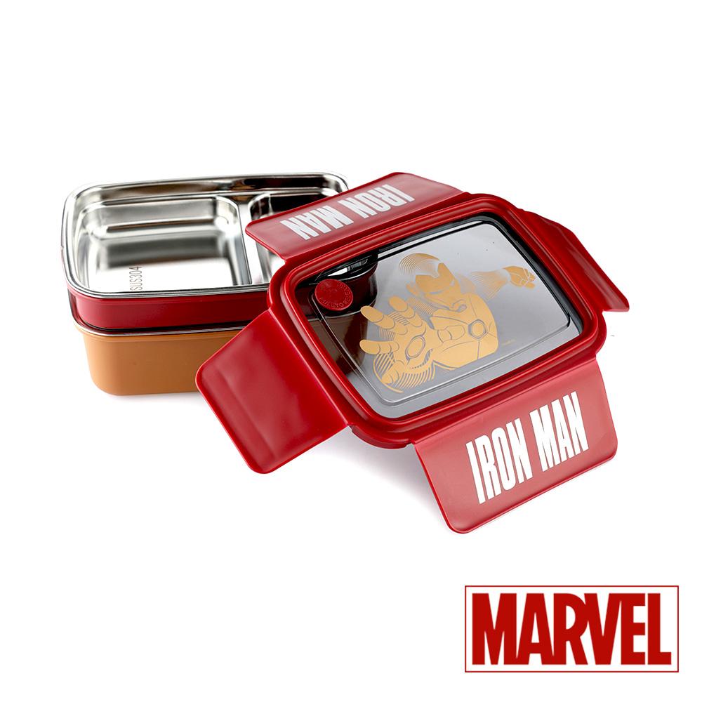 Marvel漫威 鋼鐵人雙層#304不鏽鋼分隔便當盒1.3L(快)