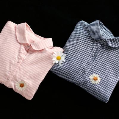 純棉刺繡格子襯衫寬鬆娃娃領短袖上衣-設計所在