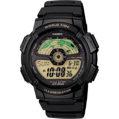 CASIO 卡西歐 10年電力 雷達式世界地圖手錶-黑(AE-1100W-1BVSDF)
