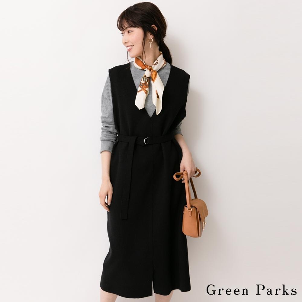Green Parks 【SET ITEM】腰繫帶大V領連身裙+素面圓領上衣