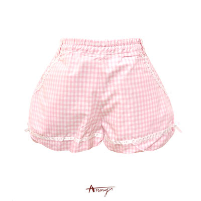 Annys敲甜美格紋蕾絲緞邊蝴蝶結燈籠短褲*0318粉
