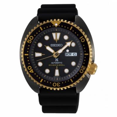SEIKO精工PROSPEX黑金潛水橡膠機械錶4R36-07L0K/SRPD46J1