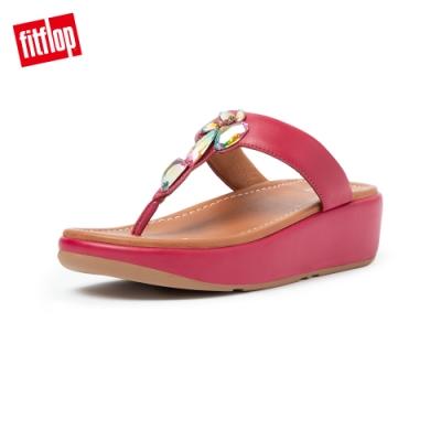 FitFlop FINO SLEEK OMBER STONES TOE POST SANDALS 柔軟皮革夾腳涼鞋-女(赤紅色)