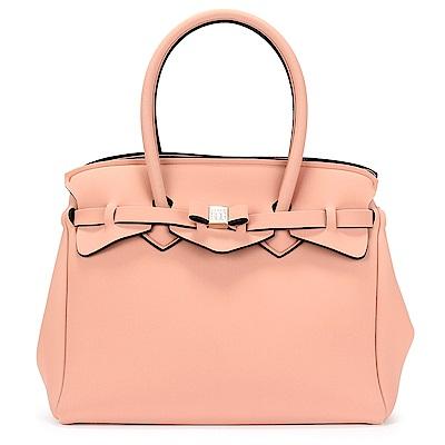 SAVE MY BAG Miss系列簡約輕量防水托特包-淡粉色