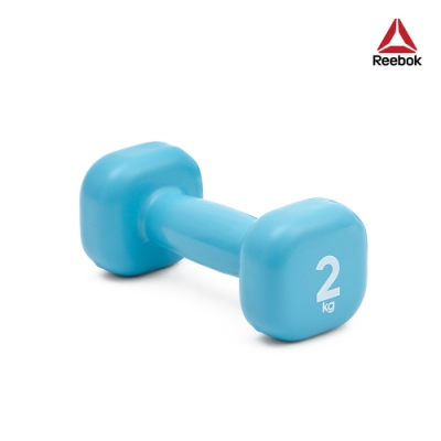 Reebok 色彩包膠鑄鐵啞鈴-2kg(淡藍)