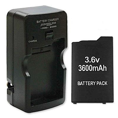 PSP (1000 1007)厚機 可折式充電器+3600mA充電電池