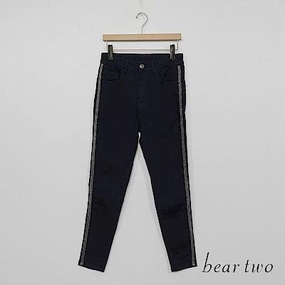 beartwo-側邊壓線合身牛仔褲-深藍