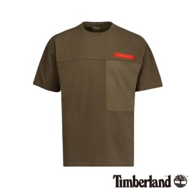 Timberland 男款駝色寬鬆防紫外線口袋短袖T恤|A1VU2