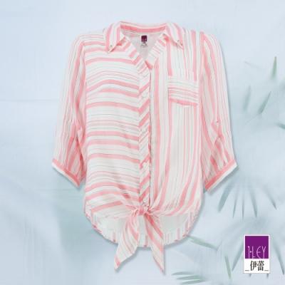 ILEY伊蕾 休閒撞色條紋綁帶襯衫(粉)