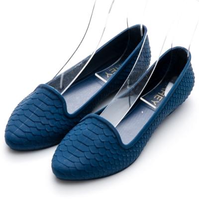 River&Moon防水鞋 晴雨二穿超Q軟幾何皮紋樂福鞋 藍