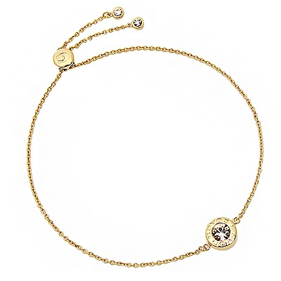 COACH 時尚氣質水鑽圓形墜飾手鍊 金色