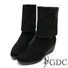 GDC-2WAY秋冬時尚璀璨水鑽優雅飾扣楔型靴-黑色