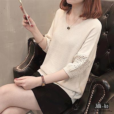 Jilli-ko 半袖鏤空寬鬆針織衫-白