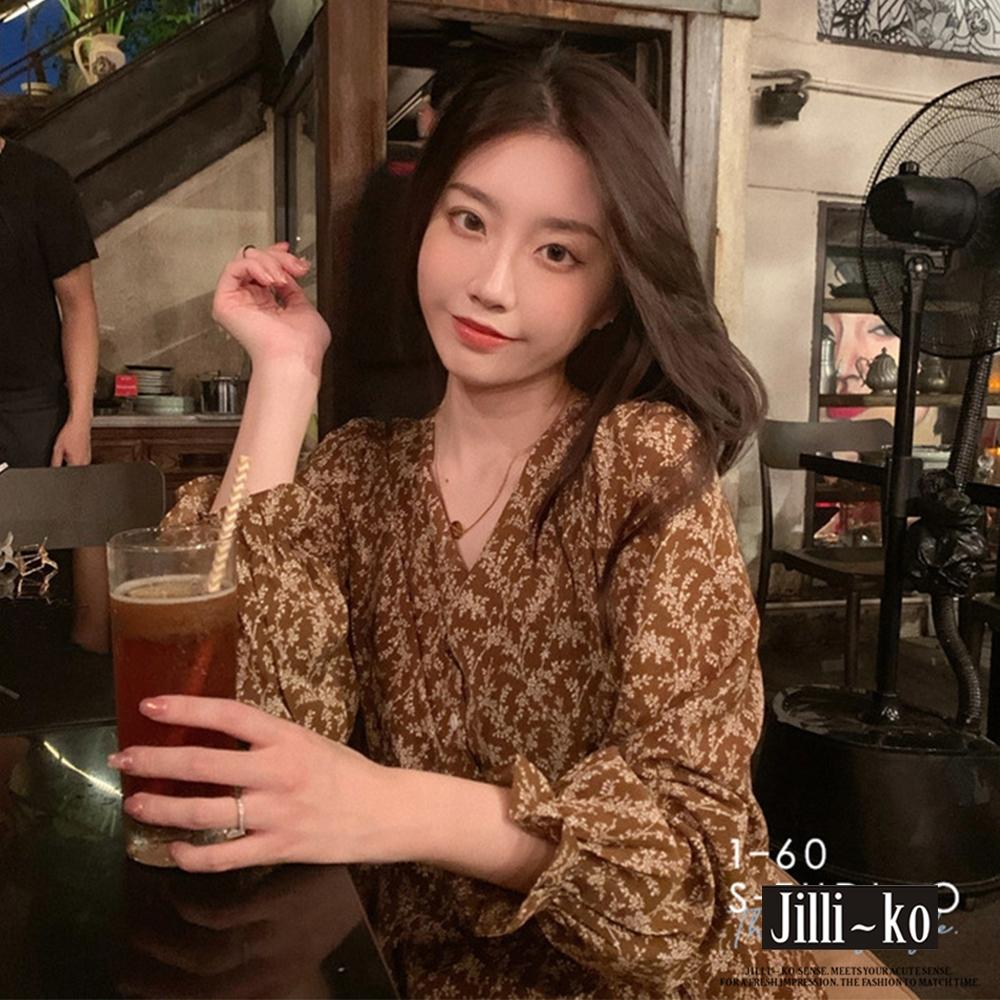 JILLI-KO 薄款文藝碎花連衣裙- 麥芽色 (咖啡色系)