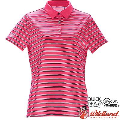 Wildland 荒野 0A71601-09桃紅色 女涼感條紋POLO上衣
