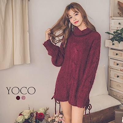 東京著衣-yoco 韓妞高領麻花長版毛衣毛海短洋裝兩穿-S.M.L(共二色)