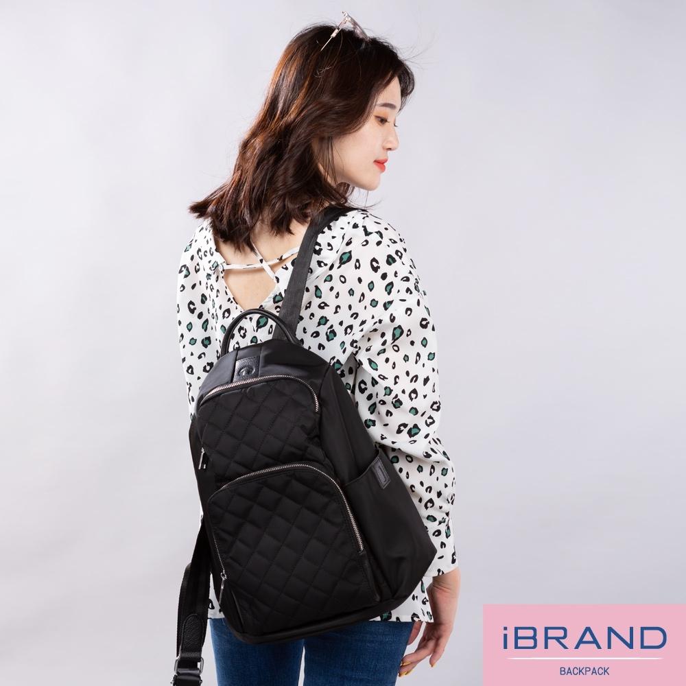 iBrand後背包 率性時尚後開式防盜尼龍後背包(大)-黑菱格