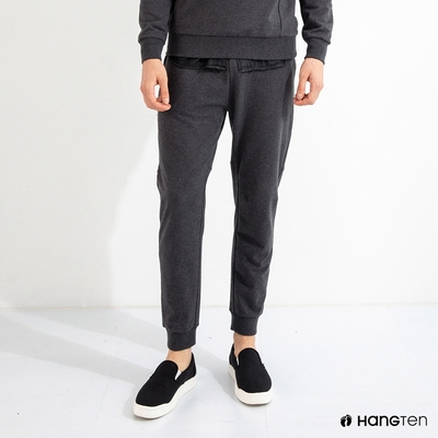 Hang Ten-男裝-恆溫多功能-小毛圈吸排防臭運動長褲-花紗黑