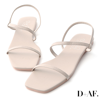 D+AF 清爽自在.復古方頭一字平底涼鞋*灰杏