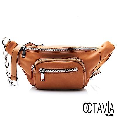 OCTAVIA 8 真皮 - 率真的帥 牛皮鍊條三角斜肩小包 - 焦糖棕