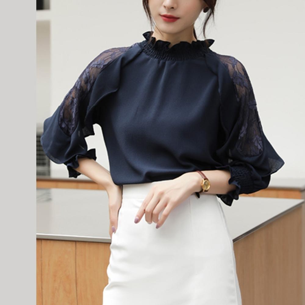 艾米蘭-優雅木耳領拼接蕾絲袖造型上衣-藏青(M-2XL)
