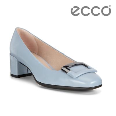 ECCO SHAPE 35 SQUARED 復古時尚方頭高跟鞋 女鞋-藍色