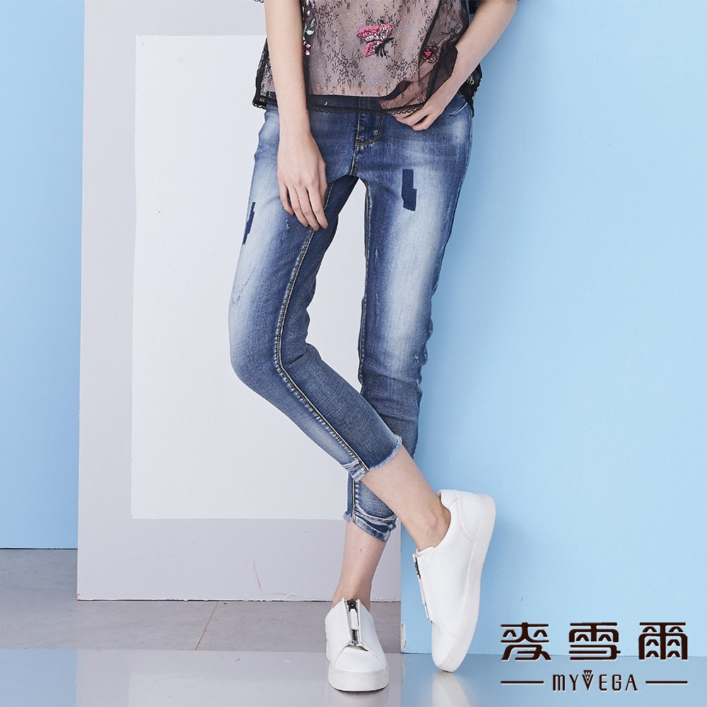 【麥雪爾】棉質拼接切角造型抽鬚牛仔褲