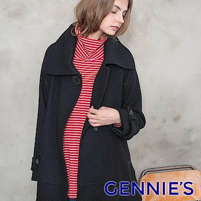 Gennies專櫃-高領彈性棉條紋不規則衣襬長版上衣(紅)T3809