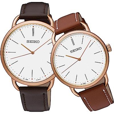 SEIKO 精工 城市熱愛 簡約三針設計對錶-咖啡/38+35mm