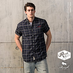 Roush (Slim Fit)法蘭絨格紋短袖襯衫(2色)