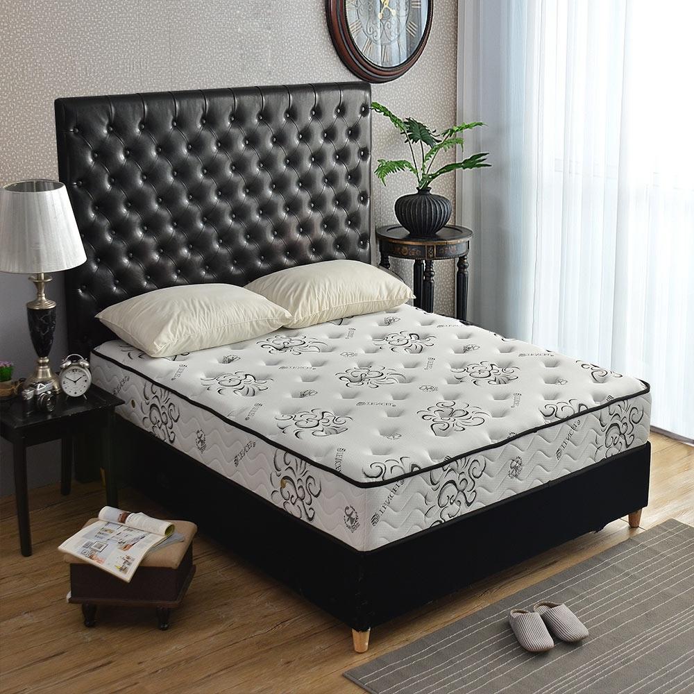 雙人加大6尺-飯店奢華-乳膠抗菌+天絲涼感抗菌-護腰型-硬式獨立筒床墊