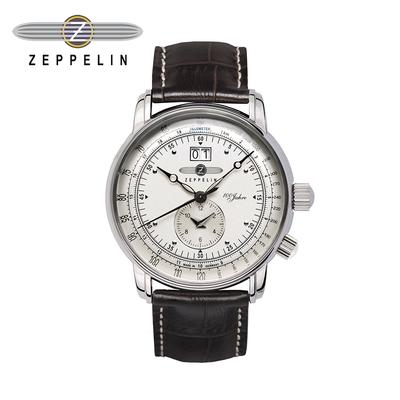 【齊柏林飛船錶Zeppelin】百年紀念大日期雙時米盤石英錶 42mm 男/女錶 76401