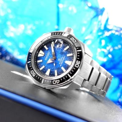SEIKO 精工 魟魚 PROSPEX 潛水錶 機械錶 日期 不鏽鋼手錶-藍色/44mm