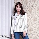 Victoria 印條拉鍊口袋長袖襯衫-女-白
