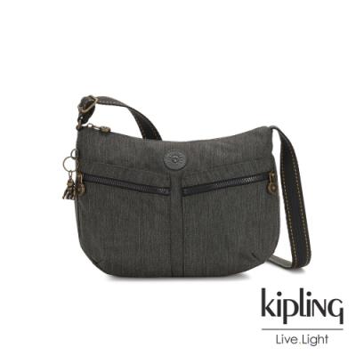 Kipling 復古質感丹寧黑雙拉鍊前袋肩背包-IZELLAH