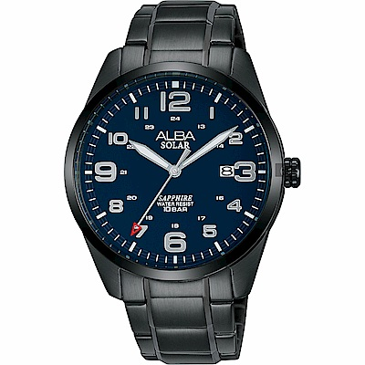 ALBA 雅柏 城市情人太陽能時尚手錶(AX3001X1)-黑/39mm