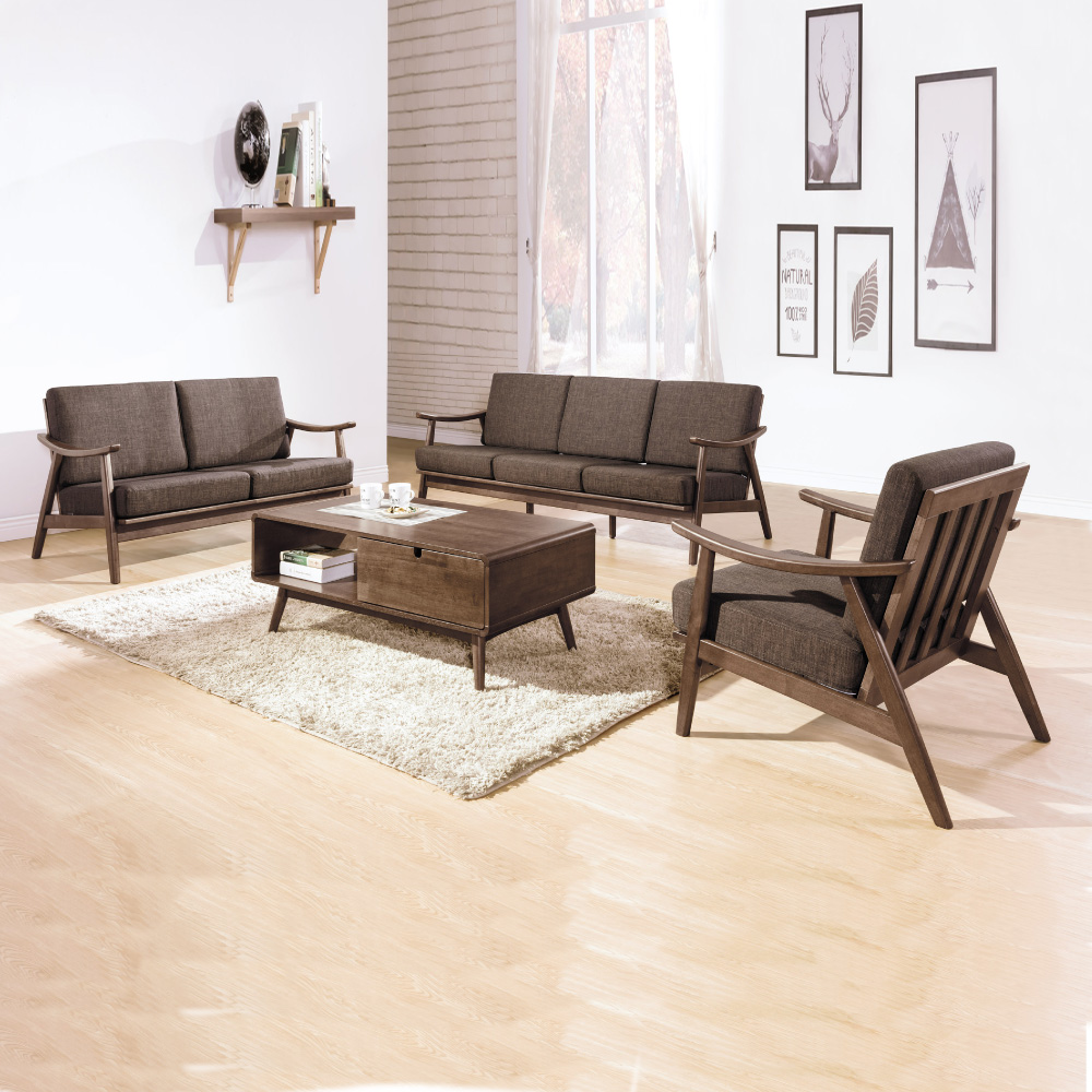 AS-瑞恩淺胡桃椅組咖啡布1+2+3人座