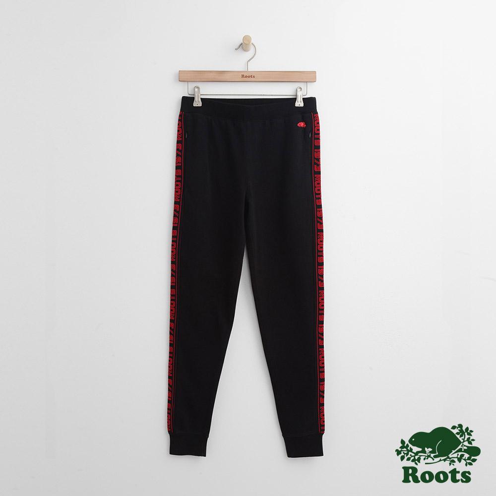 Roots -女裝- 側面字標縮口棉褲 - 黑