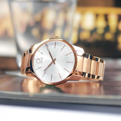 CK 極簡風格 都會時尚 瑞士製造 不鏽鋼手錶-銀x鍍玫瑰金/43mm