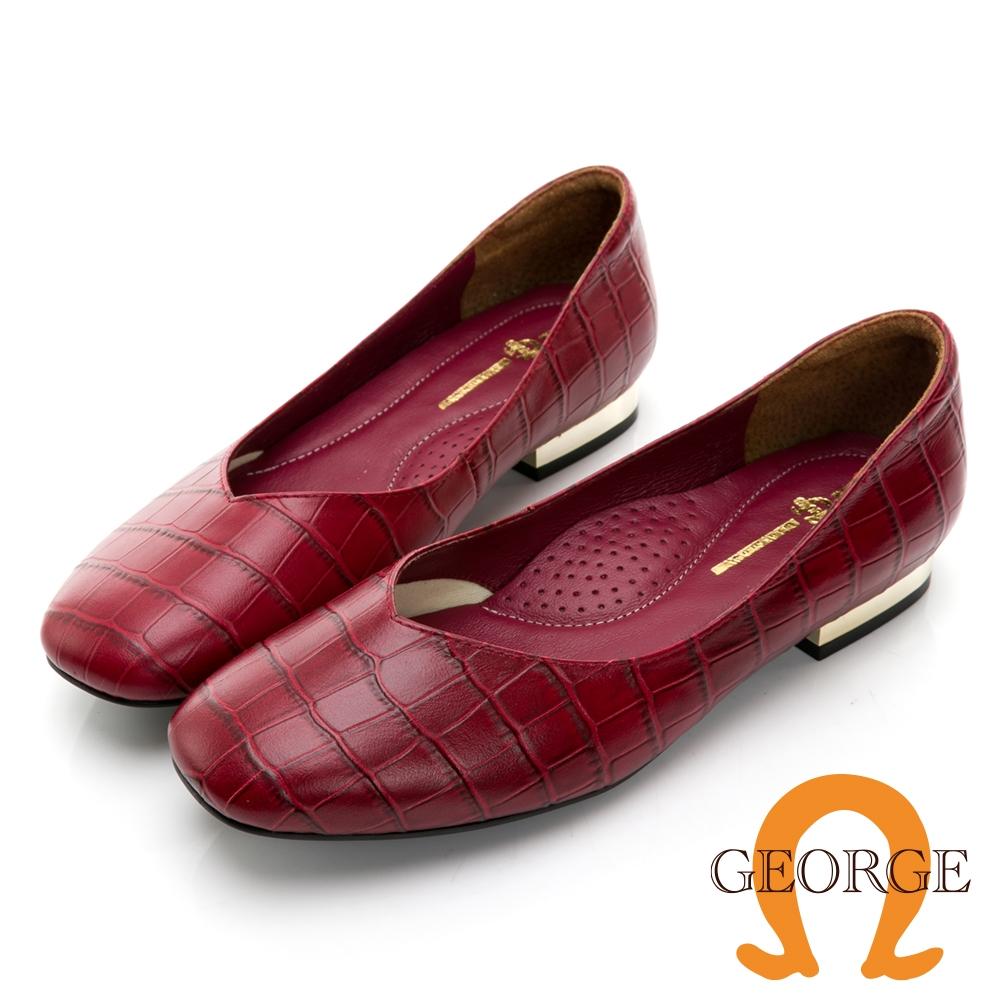 GEORGE 喬治皮鞋 牛皮鱷魚紋方頭V口低跟鞋 - 暗紅 031011CU