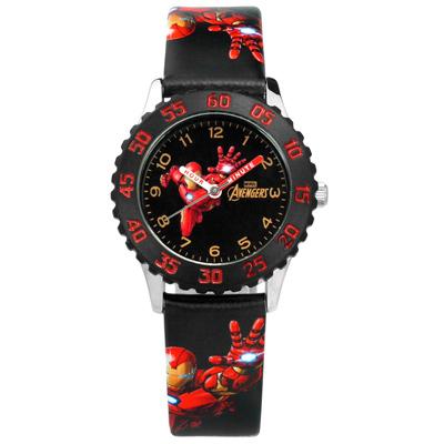 Disney 迪士尼漫威系列鋼鐵人分鐘轉盤兒童卡通皮革手錶-紅黑色/31mm