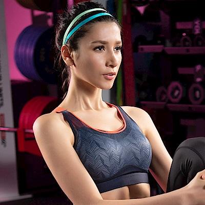 華歌爾-穩定 C-E 罩杯專業運動內衣(藍黑)輕薄網布-冰涼紗